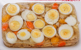 Βρασμένο Aspic αυγών και κοτόπουλου Στοκ φωτογραφία με δικαίωμα ελεύθερης χρήσης