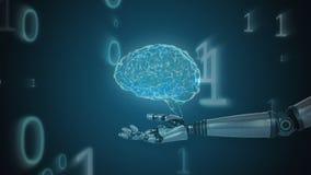 Βραχίονας ρομπότ που περιστρέφεται το ζωντανεψοντα εγκέφαλο και που κινεί δυαδικούς τους αριθμούς στο υπόβαθρο διανυσματική απεικόνιση
