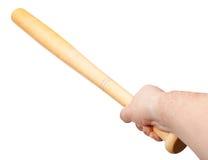 Βραχίονας το ξύλινο ρόπαλο του μπέιζμπολ που απομονώνεται με Στοκ φωτογραφία με δικαίωμα ελεύθερης χρήσης