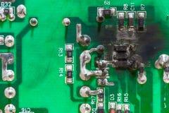 Βραχυκύκλωμα ηλεκτρικής ενέργειας πινάκων κυκλωμάτων PCB Στοκ φωτογραφία με δικαίωμα ελεύθερης χρήσης