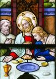 Βραδυνό του Ιησού επιτέλους στη Μεγάλη Πέμπτη - λεκιασμένο γυαλί σε Meche Στοκ φωτογραφίες με δικαίωμα ελεύθερης χρήσης