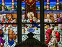 Βραδυνό του Ιησού επιτέλους στη Μεγάλη Πέμπτη - λεκιασμένο γυαλί σε Meche Στοκ εικόνες με δικαίωμα ελεύθερης χρήσης
