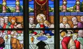 Βραδυνό του Ιησού επιτέλους στη Μεγάλη Πέμπτη - λεκιασμένο γυαλί σε Meche Στοκ Εικόνες