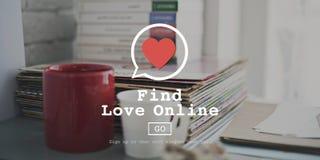 Βρείτε αγάπης τη σε απευθείας σύνδεση καρδιά αγάπης βαλεντίνων ρωμανική την έννοια Στοκ εικόνες με δικαίωμα ελεύθερης χρήσης