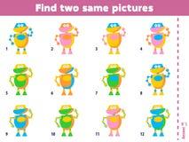 Βρείτε δύο ίδιες εικόνες Εκπαιδευτικό ταιριάζοντας με παιχνίδι για τα παιδιά η αλλοδαπή γάτα κινούμενων σχεδίων δραπετεύει το διά απεικόνιση αποθεμάτων