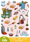 Βρείτε δύο οι ίδιες εικόνες, παιχνίδι για τα παιδιά Σύνολο χρώματος αντικειμένων για τον καθαρισμό ελεύθερη απεικόνιση δικαιώματος