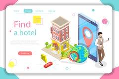 Βρείτε μια επίπεδη isometric διανυσματική απεικόνιση έννοιας ξενοδοχείων Στοκ Φωτογραφίες