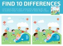 Βρείτε οι διαφοράς, παιχνίδι για παιδί, βρίσκει διαφορά, εγκέφαλος παιχνίδι, παιδί παιχνίδι, Στοκ Εικόνα