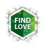 Βρείτε πράσινο hexagon κουμπί σχεδίων εγκαταστάσεων αγάπης το floral διανυσματική απεικόνιση