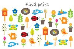 Βρείτε τα ζευγάρια των ίδιων εικόνων, παιχνίδι εκπαίδευσης διασκέδασης με το θέμα κήπων άνοιξη για τα παιδιά, προσχολική δραστηρι ελεύθερη απεικόνιση δικαιώματος