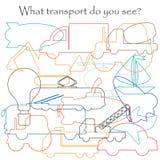Βρείτε τα κρυμμένα αντικείμενα στην εικόνα, θέμα μεταφορών, mishmash σύνολο περιγράμματος, παιχνίδι εκπαίδευσης διασκέδασης για τ διανυσματική απεικόνιση