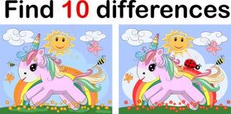Βρείτε τη διαφορά ο funy μικρός μονόκερος δύο Τα παιδιά διατρυπούν την ψυχαγωγία Διαφορετικός εξοπλισμός κατασκευής παιχνιδιών φύ διανυσματική απεικόνιση