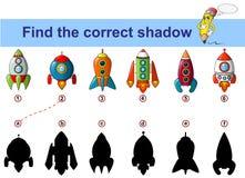 Βρείτε τη σωστή σκιά Εκπαιδευτικό παιχνίδι παιδιών Διαστημόπλοιο Πύραυλος διανυσματική απεικόνιση