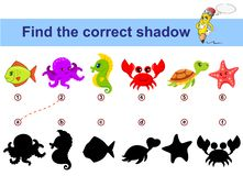 Βρείτε τη σωστή σκιά Εκπαιδευτικό παιχνίδι παιδιών Ζώα θάλασσας διανυσματική απεικόνιση