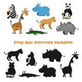 Βρείτε τη σωστή σκιά κατσίκια παιχνιδιού Ζώα ζωολογικών κήπων στο ύφος κινούμενων σχεδίων Γρίφος με τη μαύρη σκιαγραφία Στοκ Εικόνες