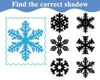 Βρείτε τη σωστή σκιά snowflake Εκπαίδευση διάνυσμα Απεικόνιση αποθεμάτων