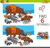 Βρείτε τις διαφορές με τους χαρακτήρες άγριων ζώων Στοκ φωτογραφίες με δικαίωμα ελεύθερης χρήσης