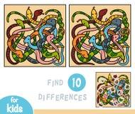 Βρείτε τις διαφορές, παιχνίδι για τα παιδιά, οκτώ φίδια διανυσματική απεικόνιση