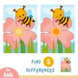 Βρείτε τις διαφορές, παιχνίδι εκπαίδευσης, λιβάδι λουλουδιών Η μέλισσα στο λουλούδι ελεύθερη απεικόνιση δικαιώματος