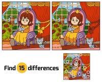 Βρείτε τις διαφορές για τα παιδιά Λίγη πριγκήπισσα σε έναν θρόνο Στοκ Εικόνες