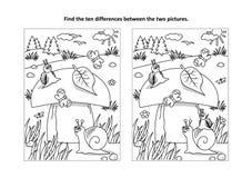 Βρείτε τον οπτικό γρίφο διαφορών και τη χρωματίζοντας σελίδα με το μανιτάρι και τα σαλιγκάρια διανυσματική απεικόνιση
