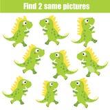 Βρείτε το ίδιο εκπαιδευτικό παιχνίδι παιδιών εικόνων Θέμα ζώων, πράσινοι δεινόσαυροι ελεύθερη απεικόνιση δικαιώματος