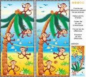 Βρείτε το γρίφο εικόνων διαφορών - πίθηκοι, παραλία, φοίνικας καρύδων απεικόνιση αποθεμάτων