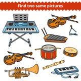 Βρείτε δύο ίδιες εικόνες Διανυσματικό σύνολο μουσικών οργάνων Στοκ Εικόνες
