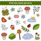 Βρείτε δύο ίδιες εικόνες Διανυσματικό σύνολο φυσικών στοιχείων Στοκ φωτογραφίες με δικαίωμα ελεύθερης χρήσης