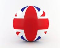 Βρετανικά - βρετανική σημαία στην τρισδιάστατη σφαίρα Στοκ Εικόνες