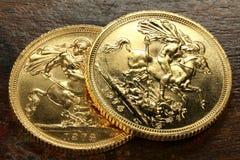 Βρετανικά κυρίαρχα χρυσά νομίσματα Στοκ εικόνες με δικαίωμα ελεύθερης χρήσης