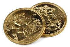 Βρετανικά κυρίαρχα χρυσά νομίσματα Στοκ Εικόνες