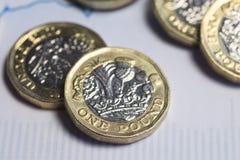 Βρετανικά χρήματα, νομίσματα λιβρών στο οικονομικό διάγραμμα Στοκ Φωτογραφία