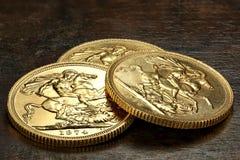 Βρετανικά χρυσά νομίσματα Στοκ Εικόνες