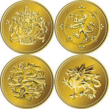 βρετανικά χρυσά χρήματα νομισμάτων καθορισμένο διάνυσμα μιας λίβρας Στοκ φωτογραφία με δικαίωμα ελεύθερης χρήσης