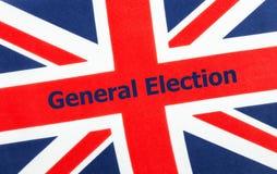 Βρετανική γενική εκλογή που γράφεται σε μια σημαία του Union Jack στοκ εικόνες