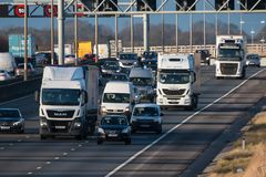 Βρετανική κυκλοφορία αυτοκινητόδρομων M1 Στοκ εικόνα με δικαίωμα ελεύθερης χρήσης