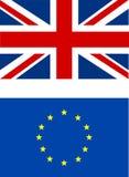 Βρετανική σημαία και ευρο- σημαία που απομονώνονται απεικόνιση αποθεμάτων