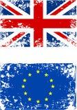Βρετανική σημαία και ευρο- σημαία Grunge που απομονώνεται διανυσματική απεικόνιση