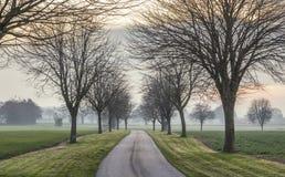 Βρετανικοί τομείς επαρχίας στο μουντό ηλιοβασίλεμα στοκ εικόνα με δικαίωμα ελεύθερης χρήσης