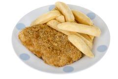 βρετανικός επιτραπέζιος παραδοσιακός ξύλινος πρόχειρων φαγητών ψαριών τσιπ Στοκ εικόνα με δικαίωμα ελεύθερης χρήσης