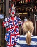 Βρετανικός κλόουν του Λονδίνου Στοκ Φωτογραφίες
