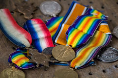 Βρετανικός παγκόσμιος πόλεμος ένα μετάλλια Στοκ Εικόνες