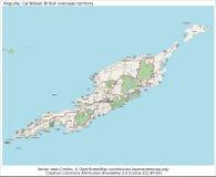 Βρετανικός χάρτης νησιών Καραϊβικής της Αγκουίλα Στοκ Εικόνα