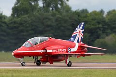 Βρετανικό αεροδιαστημικό γεράκι Τ της Royal Air Force RAF 1 XX244 της ομάδας επίδειξης της Royal Air Force Aerobatic τα κόκκινα β Στοκ φωτογραφίες με δικαίωμα ελεύθερης χρήσης