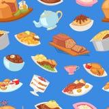 Βρετανικό γεύμα προγευμάτων τροφίμων διανυσματικό αγγλικό και τηγανισμένο κρέας με την πατάτα για το γεύμα ή το σύνολο απεικόνιση ελεύθερη απεικόνιση δικαιώματος