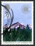 Βρετανικό γραμματόσημο ημέρας Κοινοπολιτείας στις 14 Μαρτίου 1983 Στοκ εικόνες με δικαίωμα ελεύθερης χρήσης