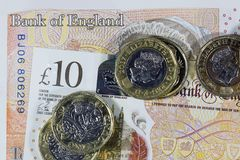 Βρετανικό νόμισμα - νέο πολυμερές σώμα σημείωση δέκα λιβρών Στοκ Εικόνα