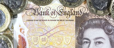 Βρετανικό νόμισμα - νέο πολυμερές σώμα σημείωση δέκα λιβρών Στοκ Φωτογραφίες