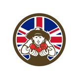 Βρετανικό οργανικό αυξημένο εικονίδιο σημαιών του Union Jack προϊόντων Στοκ Φωτογραφίες
